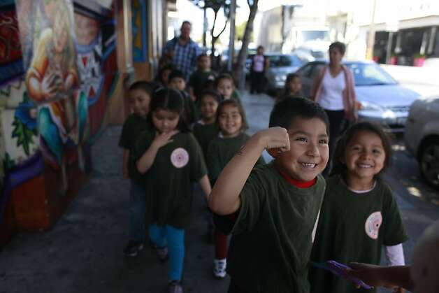 Jesus Mendoza, 4, helps lead his class from the Mission Head Start program to the playground on Tuesday, July 24, 2012 in San Francisco, Calif.  A new study that shows California has fallen from 16th to 41st in the country when it comes to children's well-being. The rankings take into account economic well-being, education, health, and family and community. Photo: Mike Kepka, The Chronicle