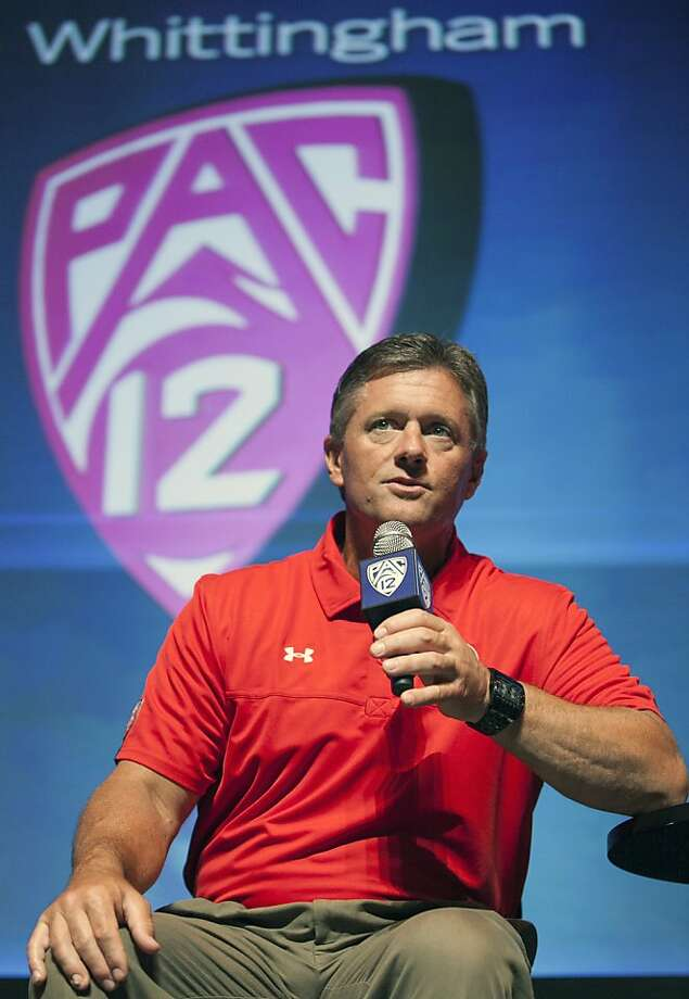 Utah football head coach Kyle Wittingham takes questions at the Pac-12 Media Day in Los Angeles Tuesday, July 24, 2012. (AP Photo/Damian Dovarganes) Photo: Damian Dovarganes, Associated Press