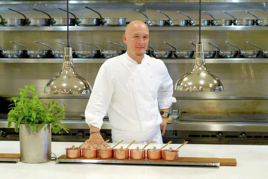 Chef Brian Lewis in the kitchen at Elm restaurant in New Canaan, Conn. on Friday June 29, 2012. Photo: Dru Nadler / Stamford Advocate Freelance