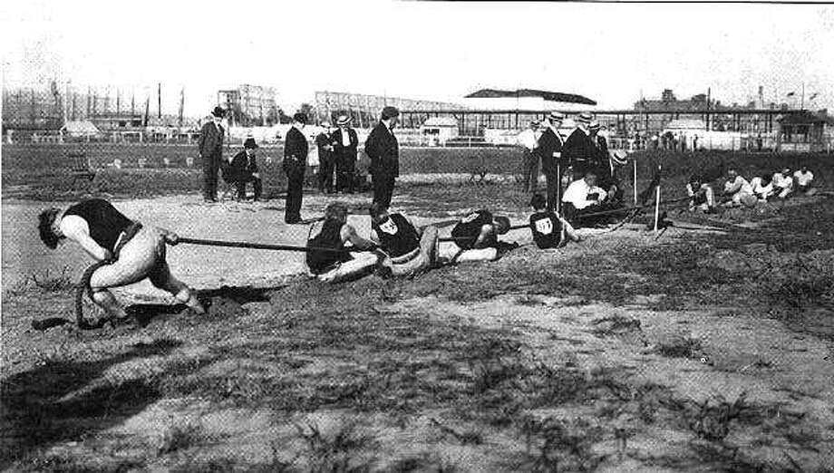 Tug of war was contested as a team event in the Summer Olympics at every Olympiad from 1900 to 1920. Photo: AncientAndModernOlympics.wordpre