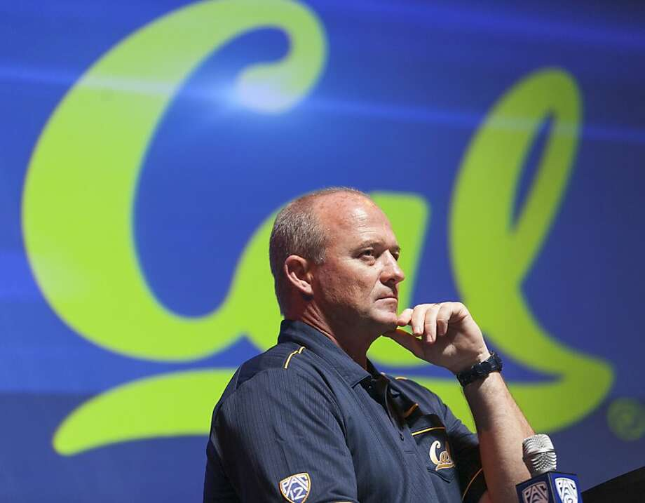 California head coach Jeff Tedford takes questions at the Pac-12 NCAA college football media day in Los Angeles, Tuesday, July 24, 2012. (AP Photo/Damian Dovarganes) Photo: Damian Dovarganes, Associated Press
