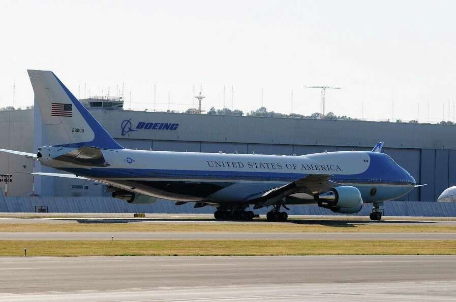 Air Force One taxis on the runway at King County International Airport on Tuesday, July 24, 2012. Ob