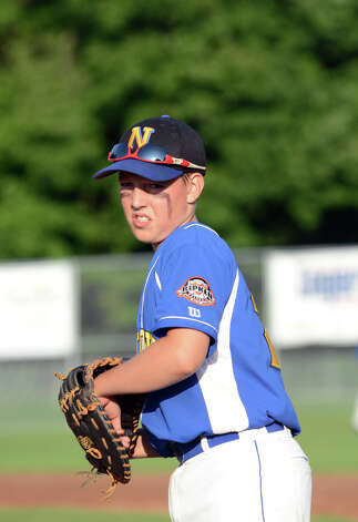 Newtown's Ben Dieckman (29) on first base during the Cal Ripken New England Regional Tournament between New Canaan and Newtown at Glander Field in Newtown on Tuesday, July 24, 2012. Photo: Amy Mortensen / Connecticut Post Freelance
