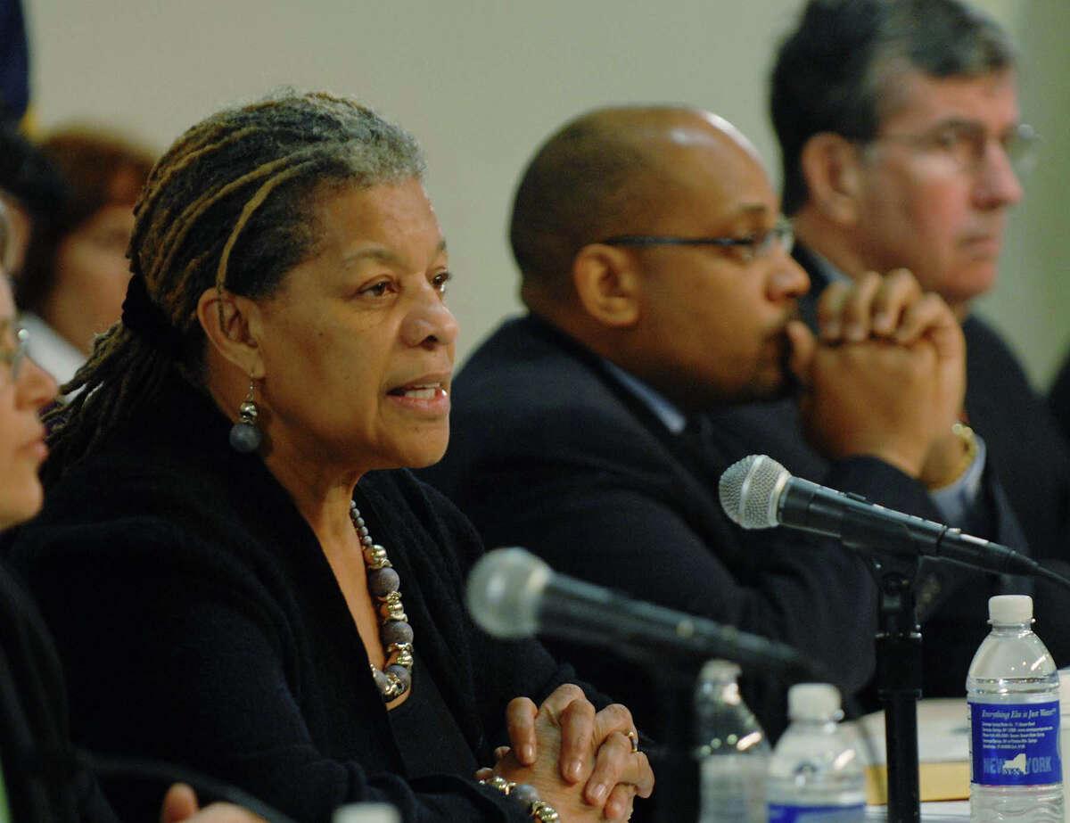 Senator Ruth Hassell-Thompson, left, addresses those gathered during an Albany IOLA joint legislative hearing in Albany, NY on Thursday, Jan. 7, 2010. (Paul Buckowski / Times Union)
