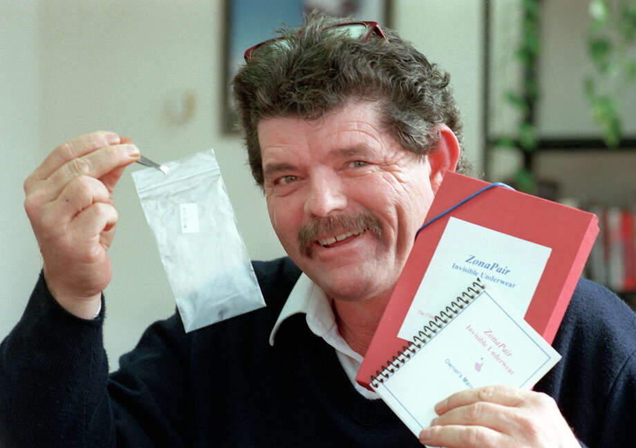 Richard Gary 'R.G.' Griffing displays his invisible underwear product on Dec. 1, 1998, at his office in San Antonio. Photo: Express-News File Photo