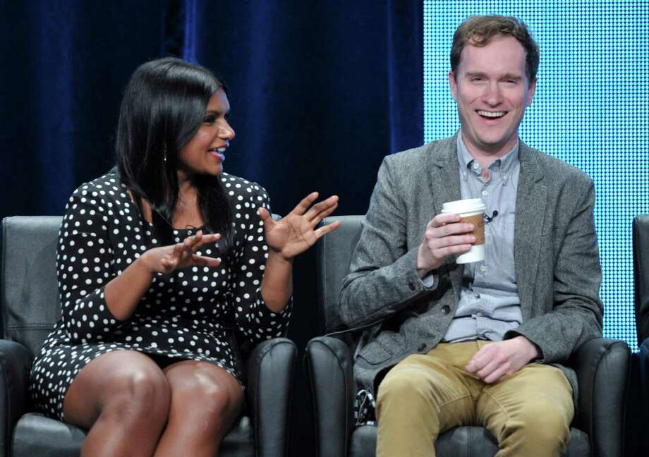 "Actor and producer Mindy Kaling, left, and producer Matt Warburton appear on stage at the FOX TCA panel for ""The Mindy Project"" at the Beverly Hilton hotel on Monday, July 23, 2012, in Beverly Hills, Calif. (Photo by John Shearer/Invision/AP) Photo: John Shearer / Invision"