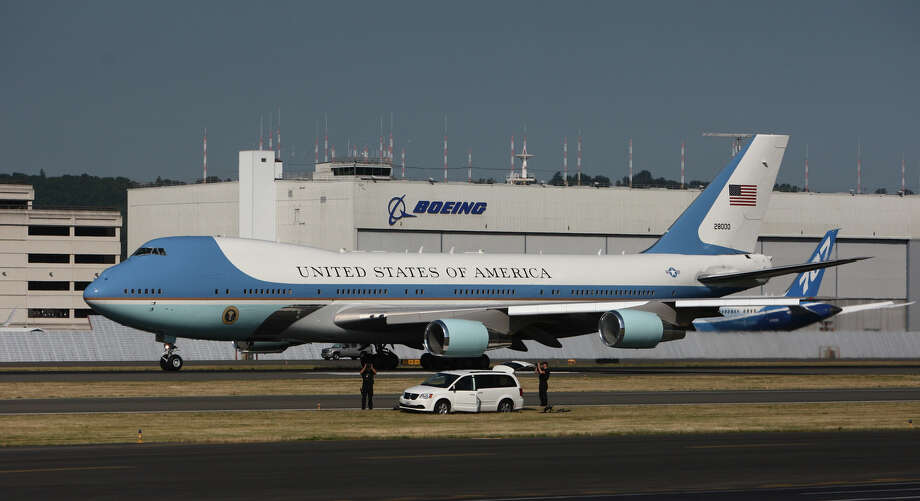 Air Force One, carrying U.S. President Barack Obama, prepares to take off at Boeing Field after a fundraising visit for the President's campaign and an overnight stay in Bellevue. The President departed on Wednesday, July 25, 2012. Photo: JOSHUA TRUJILLO / SEATTLEPI.COM