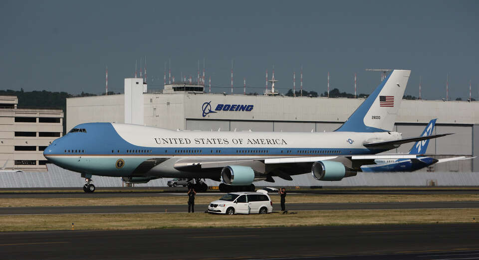 Air Force One, carrying U.S. President Barack Obama, prepares to take off at Boeing Field after a fu
