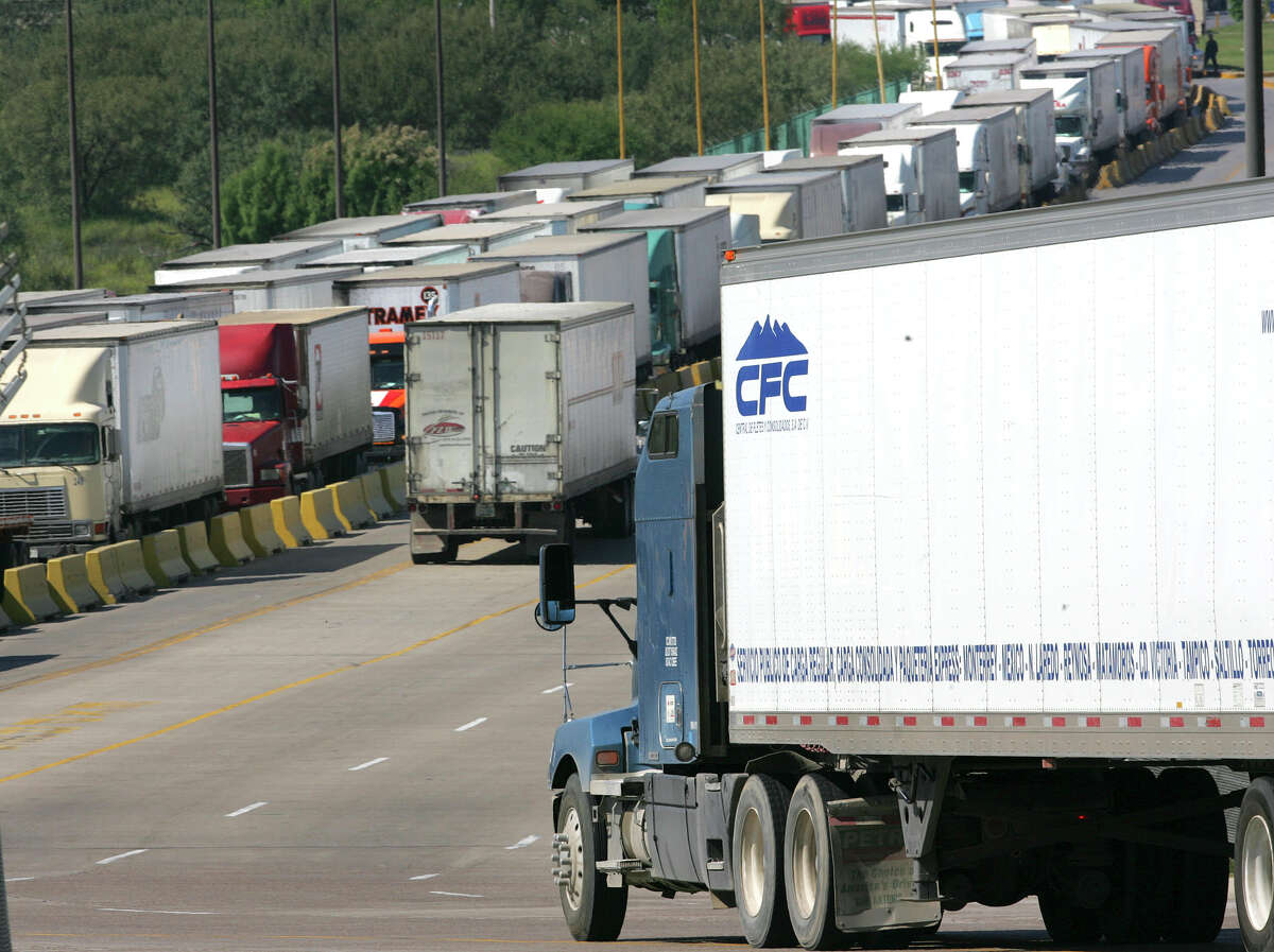Truck traffic at the World Trade Bridge in Laredo illustrates that NAFTA has significantly boosted trade between the United States and Mexico.