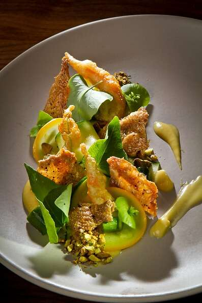The Squash with Hen Cracklings at Central Kitchen in San Francisco, Calif., are seen Thursday, July