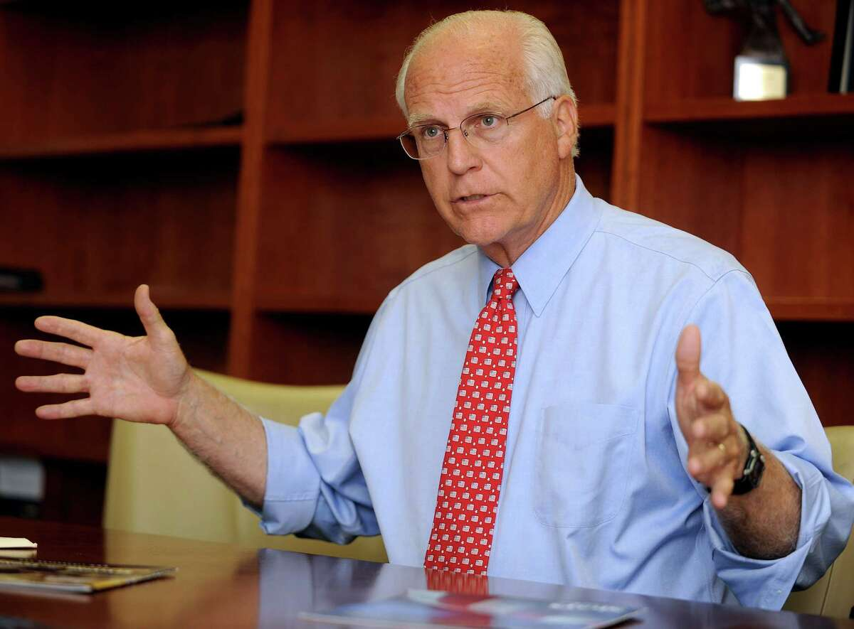 Former Congressman Christopher Shays speaks to the editorial board at the Stamford Advocate's office on Wednesday, July 25, 2012. Shays is running for senate and will face Republican Party-endorsed Linda McMahon in the August primary.