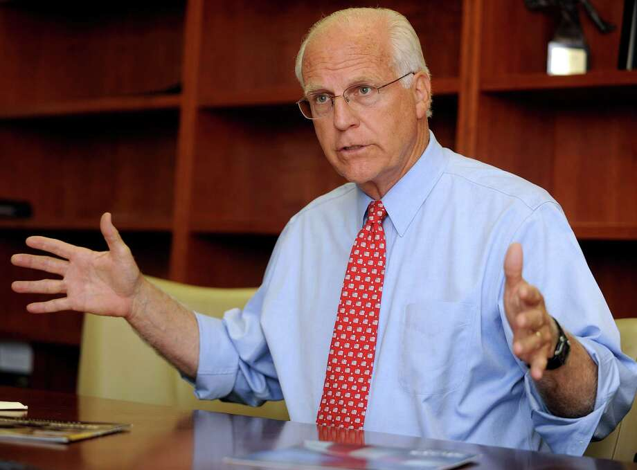 Former Congressman Christopher Shays speaks to the editorial board at the Stamford Advocate's office on Wednesday, July 25, 2012. Shays is running for senate and will face Republican Party-endorsed Linda McMahon in the August primary. Photo: Lindsay Niegelberg / Stamford Advocate