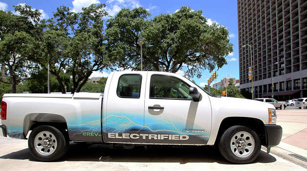 A GMC electrified truck is available for test driving at the Plug-In-2012 Convention & Expo at the Gonzalez Convention Center on July 25, 2012. Photo: Tom Reel, San Antonio Express-News / ©2012 San Antono Express-News