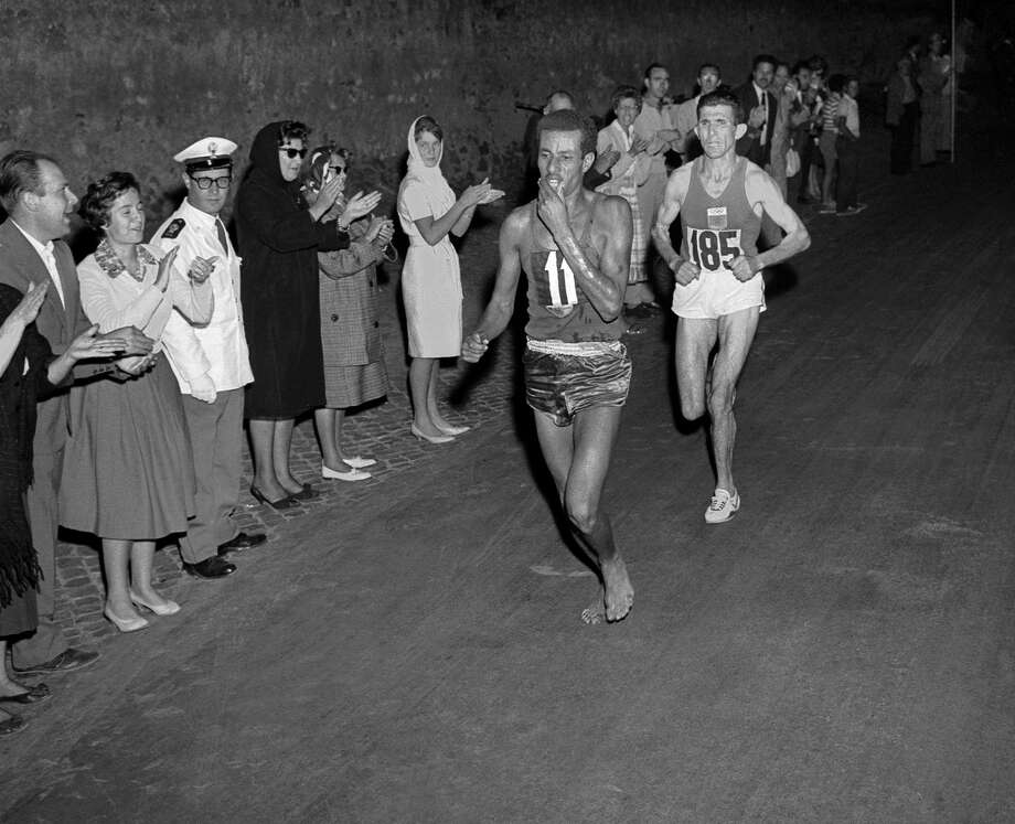 Ethiopian athlete Abebe Bikila ran barefoot for victory in the Rome 1960 Olympic Games marathon. Bikila couldn't find shoes that fit well, so he opted to run barefoot. Luckily, that was how he trained.  Photo: Getty Images