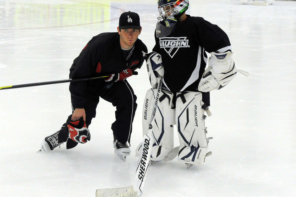 LA Kings goalie, Stanley Cup MVP and Hamden native Jonathan Quick conducts an ice hockey clinic at Stamford Twin Rinks in Stamford, Conn., July 25, 2012.