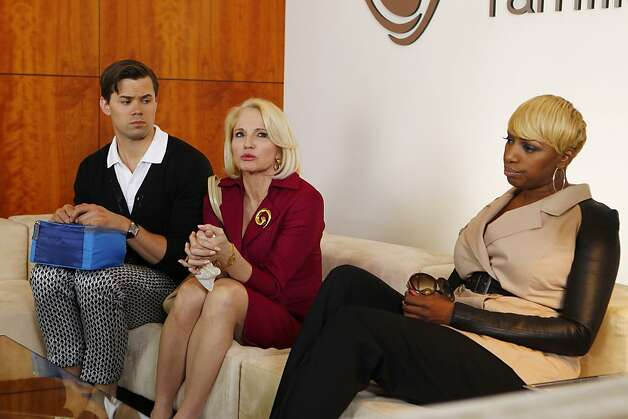 Andrew Rannells (left) is dad-to-be Bryan, Ellen Barkin is Nana Jane and NeNe Leakes is Rocky. Photo: Trae Patton, NBC
