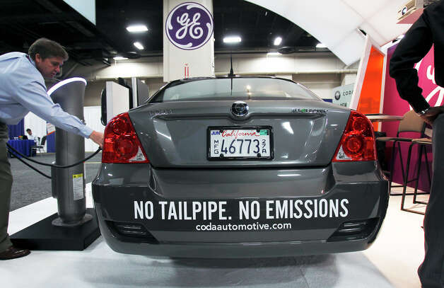 A Coda is charged at the Plug-In-2012 Convention & Expo at the Gonzalez Convention Center on July 25, 2012. Photo: Tom Reel / ©2012 San Antono Express-News