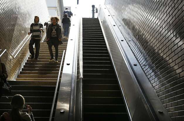 The escalator at Market  & 8th streets at the Civic Center Bart station in San Francisco, Calif., not working on Wednesday, July 25, 2012. Photo: Liz Hafalia, The Chronicle