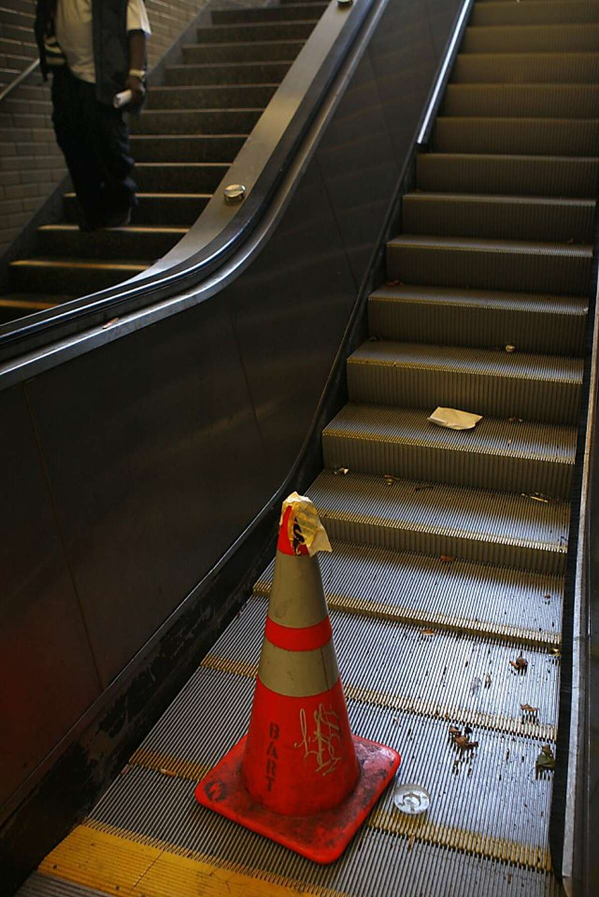 The escalator at Market & 8th streets at the Civic Center Bart station in San Francisco, Calif., not working on Wednesday, July 25, 2012.
