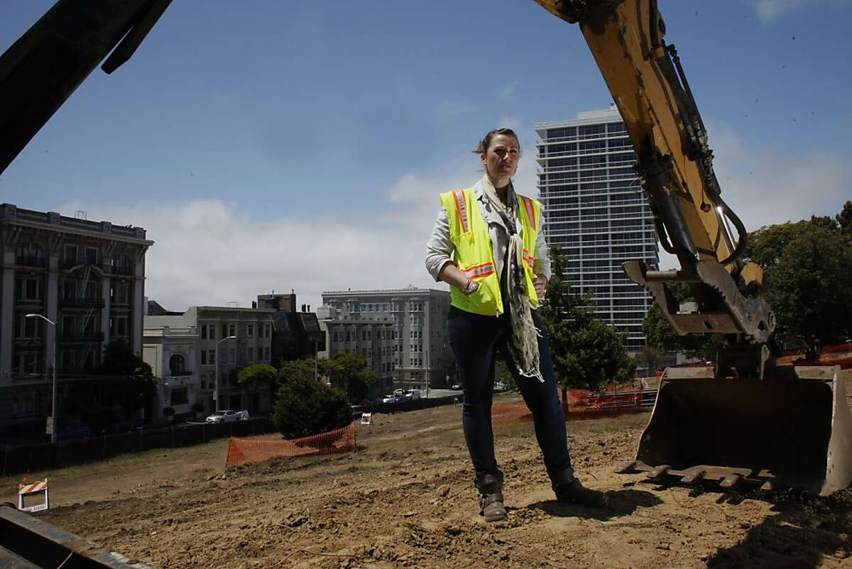 Angela Bauman of Bauman Construction walks through the Lafayette Park, Wednesday July 25, 2012, in San Francisco, Calif. After a complaint by one resident the renovation has stopped and all but three construction workers have been laid off costing the city close to $10,000 a day.
