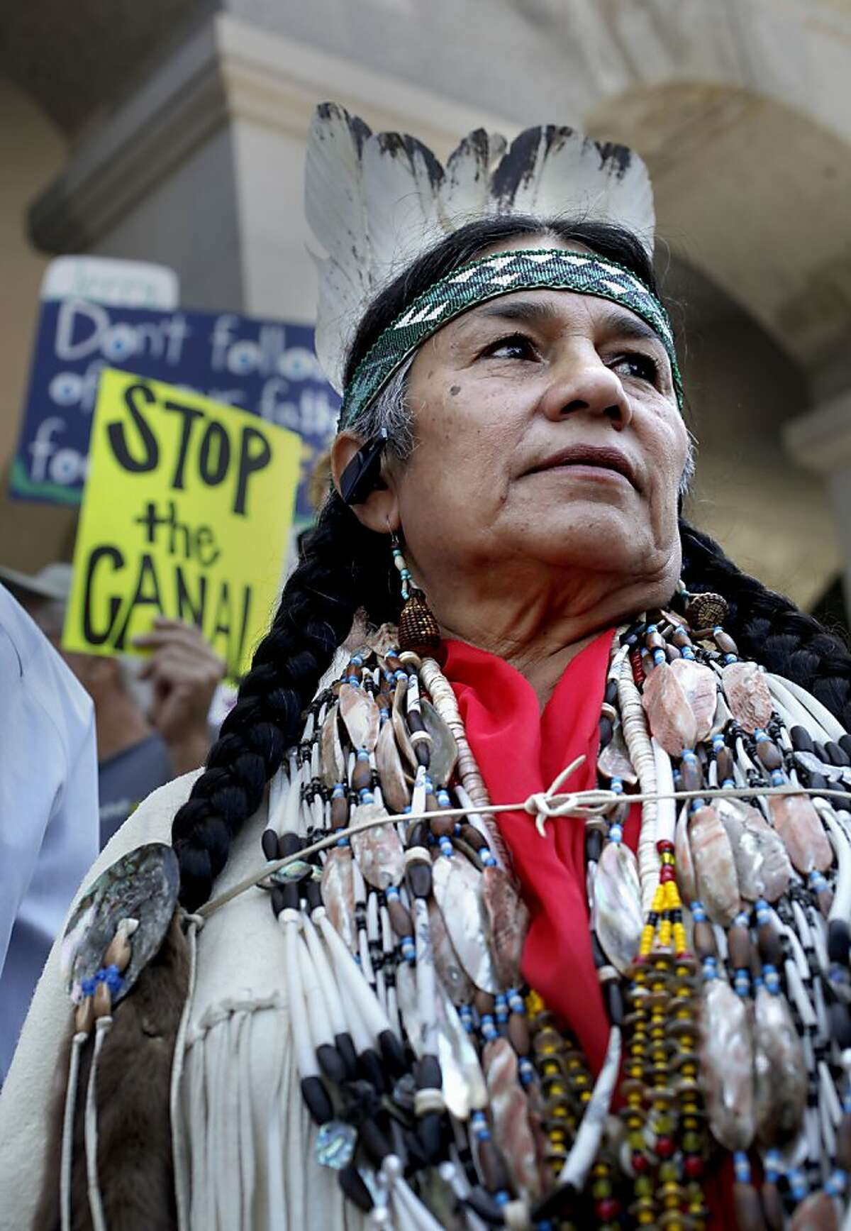 Caleen Sisk of the Winnemem Wintu Tribe joins a protest at the State Capitol building on Wednesday.