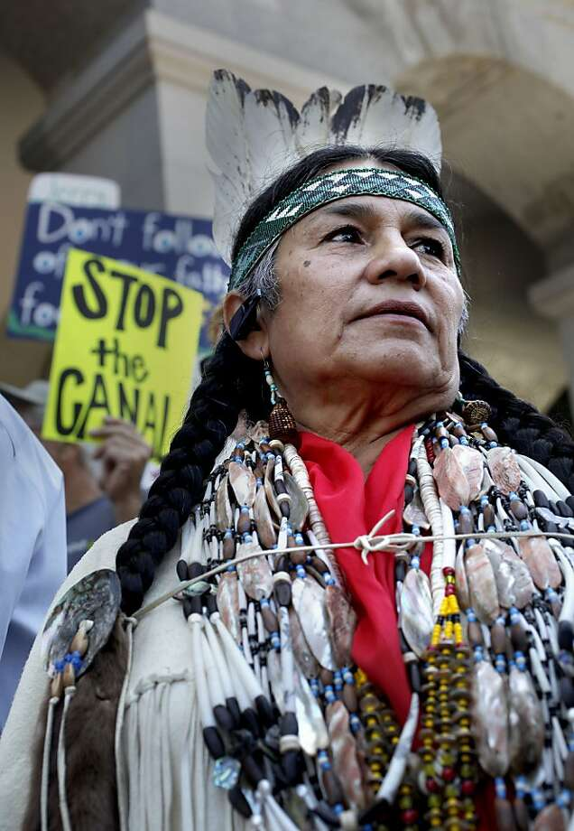 Caleen Sisk of the Winnemem Wintu Tribe joins a protest at the State Capitol building on Wednesday. Photo: Michael Macor, The Chronicle