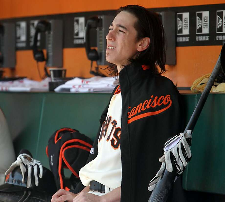 San Francisco Giants starting pitcher Tim Lincecum watches the action on the field during the 4th inning during their MLB baseball game with the  San Diego Padres Wednesday, July 25, 2012 in San Francisco Calif., Photo: Lance Iversen, The Chronicle
