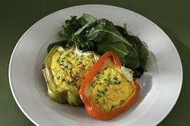 Grilled Cheddar Eggs in Red Peppers as seen in San Francisco, California, Wednesday, July 11, 2012.  Food styled by Amanda Gold.