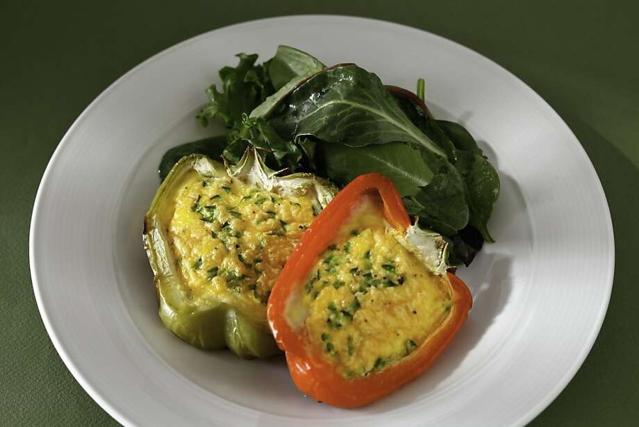 Grilled Cheddar Eggs in Red Peppers as seen in San Francisco, California, Wednesday, July 11, 2012.  Food styled by Amanda Gold. Photo: Craig Lee, Special To The Chronicle