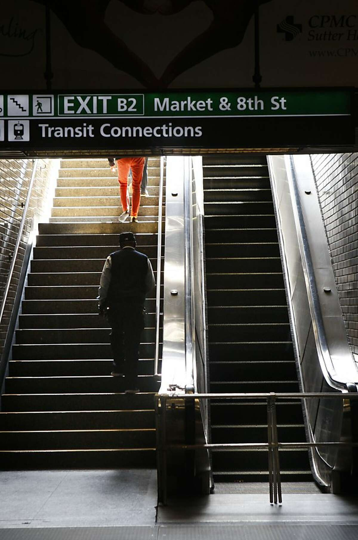 An escalator at the Civic Center BART station was inoperable on Wednesday.