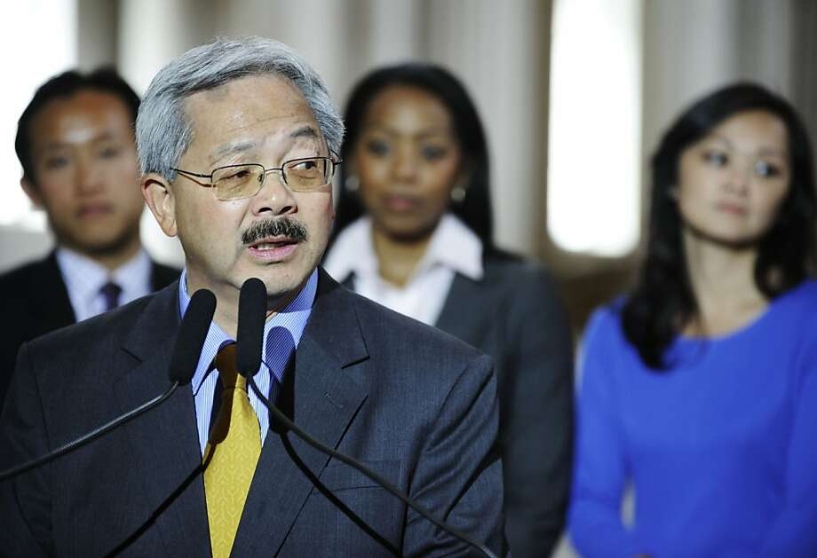 Mayor Edwin M. Lee gives a speech before he signing San Francisco's first-ever two-year balanced budget for Fiscal Year 2012-13 and 2013-14 at the City Hall on Wednesday, July 25, 2012 in San Francisco, Calif. Photo: Yue Wu, The Chronicle