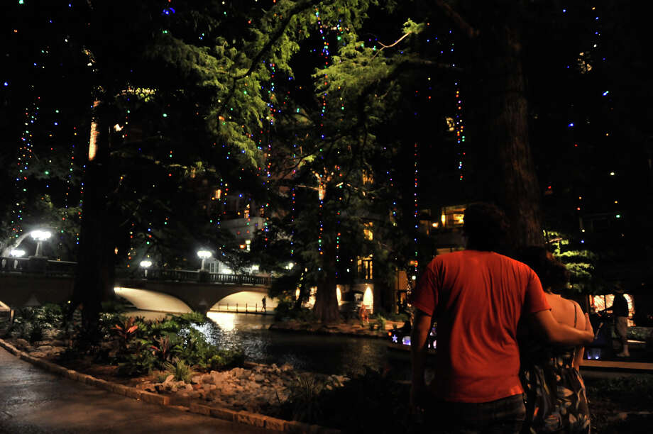 San Antonio officials conducted a lighting test of the  River Walk Christmas lights Wednesday to determine whether to use  either LED lights or incandescent lights on the annual display. The  test took place on the River Walk trees at Marriage Island near the  Navarro St. bridge. Photo: Robin Jerstad/For The Express-News / ROBIN JERSTAD     210 254 6552