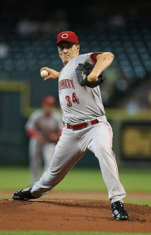 Reds starting pitcher Homer Bailey, who wears the No. 34 of his childhood hero Nolan Ryan, held the Astros in check. (Karen Warren / Chronicle)