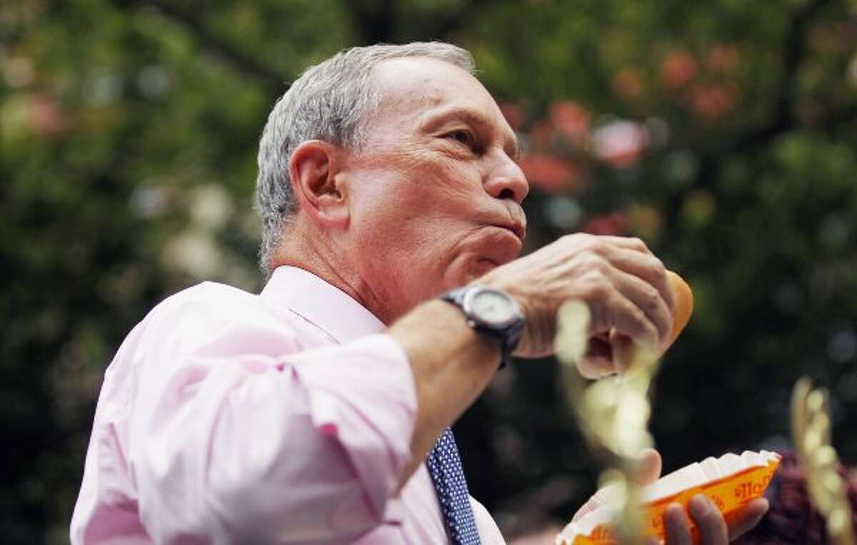 New York Mayor Michael Bloomberg was at the Nathan's Famous Fourth of July International Hot Dog Eating Contest at Coney Island. Starting in on his prepared remarks, Bloomberg looked up and asked: