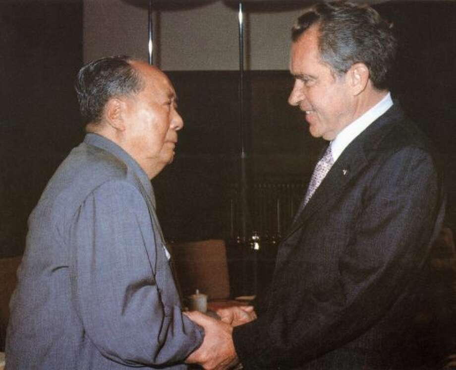 "The high point of Richard Nixon's presidency was 1972 meeting with China's Chairman Mao Zedong. Before and after the China visit, White House tapes were picking up Nixon's petty, obscenity-laced tirades and use of phrases like ""wop"" and ""Jew boy.""  (AFP/Getty Images)"
