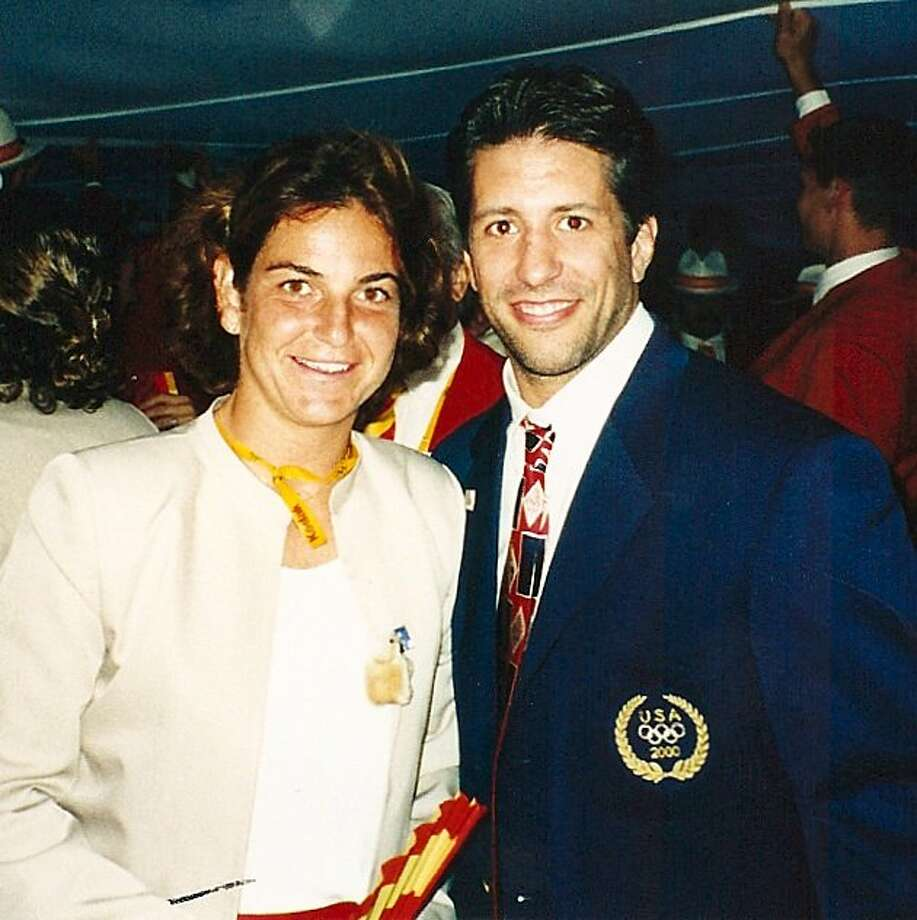 Jason Morris with Arantxa Sanchez Vicario at the 2000 Olympic opening ceremonies.