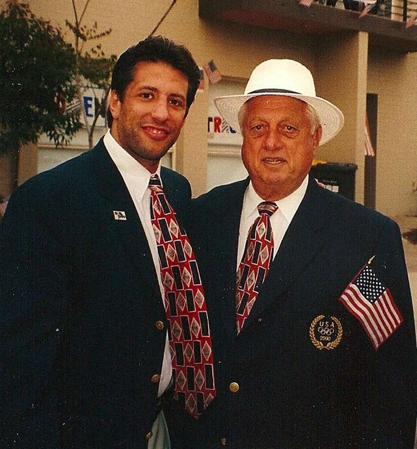 Jason Morris with Tommy Lasorda at the 2000 Olympic opening ceremonies.