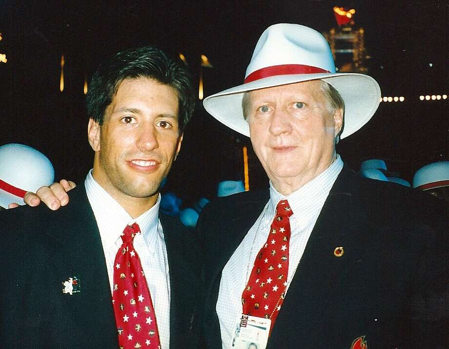 Jason Morris with George Steinbrenner at the 1996 Olympic opening ceremonies.