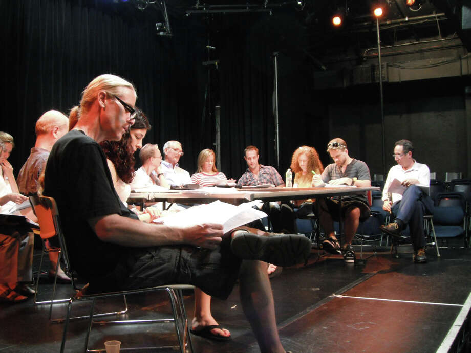 "Just before the independent film ""Isn't It Delicious?"" began shooting last summer, the company gathered at the Fairfield Theatre Company for a public reading of the script. On Monday, Aug. 6 the just-finished film will receive its first public screening at the FTC. Photo: Contributed Photo"