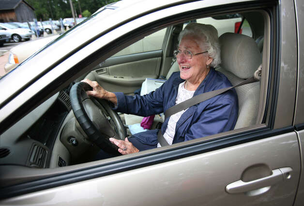 Marianne Charabowski, 86 of Stratford, pulls out of the parking lot at the Baldwin Senior Center in Stratford on Thursday, July 26, 2012. Photo: Brian A. Pounds / Connecticut Post