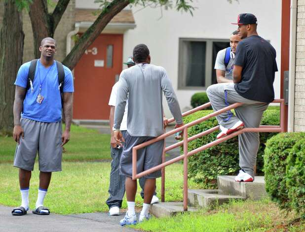 New York Giants players outside their UAlbany dorm at this season's training camp Thursday July 26, 2012.   (John Carl D'Annibale / Times Union) Photo: John Carl D'Annibale