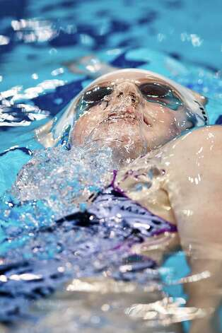 The United States' Missy Franklin swims during a practice session at the Aquatics Center at the Olympic Park ahead of the 2012 Summer Olympics, Thursday, July 26, 2012, in London. Opening ceremonies for the 2012 London Olympics will be held Friday, July 27. Photo: AP