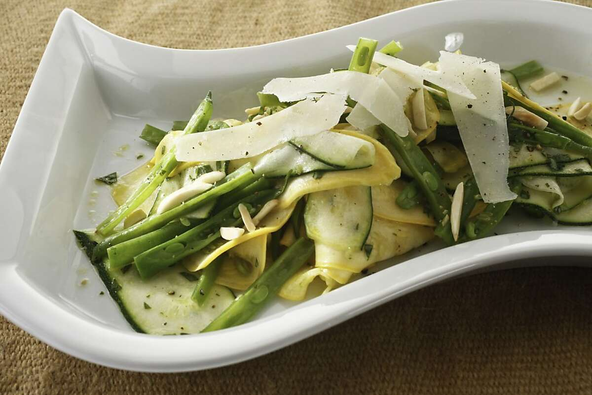 Shaved Summer Squash & Green Beans with Basil-Lemon Vinaigrette as seen in San Francisco, California, Wednesday, July 25, 2012. Food styled by Lauren N Reuthinger and Lynne Bennett.