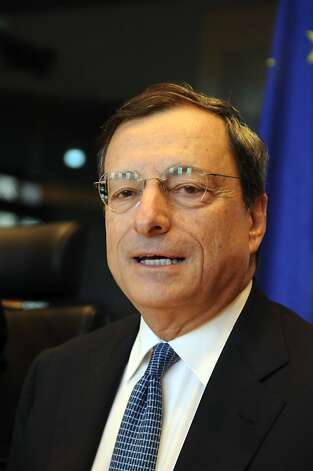 (FILES) This photo taken on July 9, 2012 shows European Central Bank President Mario Draghi adressing the Economic and Monetary Affairs Committee of the European Parliament during a regular monetary dialogue at the European Parliament in Brussels. European Central Bank chief Mario Draghi pledged on July 26, 2012 full support for Europe's single currency, boosting stock markets and easing pressure on Spanish borrowing costs. AFP PHOTO / THIERRY CHARLIERTHIERRY CHARLIER/AFP/GettyImages Photo: Thierry Charlier, AFP/Getty Images