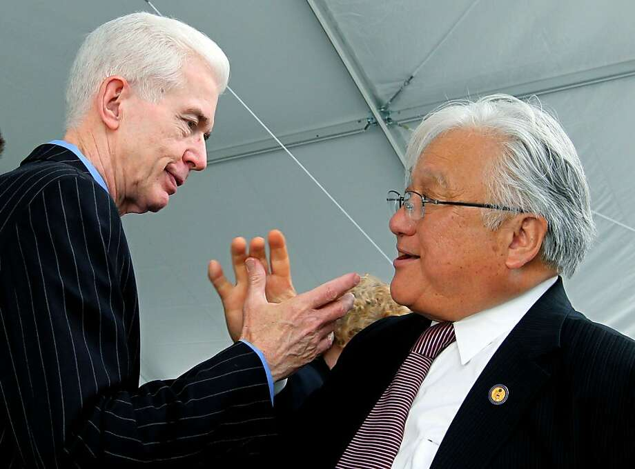 Former California Governor Gray Davis, left, and United States Congressman Mike Honda, greet each other at the Berryessa BART extension groundbreaking ceremony in San Jose Thursday, April 12, 2012. After years of budget talks, elections and dreaming federal, state, and local Silicon Valley officials broke ground on the first BART station on Mabury Road in San Jose. Photo: Lance Iversen, The Chronicle