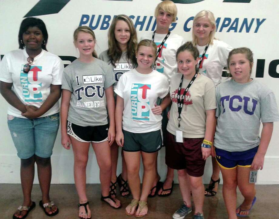Little Cypress-Mauriceville High School Yearbook staffers got the opportunity to tour Balfour publishing while in Fort Worth for a Yearbook conference at Texas Christian University. Students are, from left, Kenya Anderson, Skyler Authement, Hanna Sadler, Lexi Humphreys, Woody Carter, Mia Yellott, Charity Lawson, and Emily Lyons. The Yearbook sponsor and journalism teacher is Lindsey Stanley. Photo: Courtesy Photo