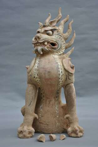 Zhenmushou (Tomb Guardian Beast) Tang dynasty (618?907 CE) Painted and gilt earthenware, 65.7 x 30 cm  Unearthed 2009, Tomb M2, Fujiagou Village, Lingtai County, Gansu Province Lingtai County Museum, Pingliang (Courtesy Clark Art Institute)
