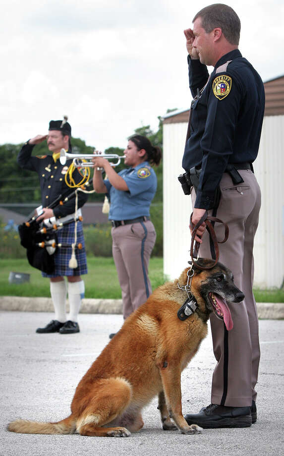 Metro daily -  Deputy Steve Benoy, left, of the Bexar County Sheriff K9 Unit salutes as he holds his dog Blitz, as taps are played for Andor, badge number 007, who was retired today during a memorial service after passing away June 27, 2007, Friday, July 6, 2007. Photo: Bob Owen, SAN ANTONIO EXPRESS-NEWS / SAN ANTONIO EXPRESS-NEWS
