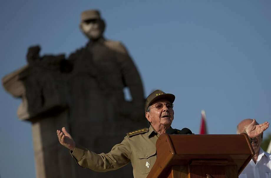 Cuba's President Raul Castro speaks during celebrations marking Cuba's Revolution Day in Guantanamo, Cuba, Thursday, July 26, 2012.  Cuba marks the 59th anniversary of the July 26, 1953 rebel attack led by Fidel and Raul Castro on the Moncada military barracks. The attack is considered the beginning of the revolution that culminated with dictator Fulgencio Batista's ouster. (AP Photo/Ramon Espinosa) Photo: Ramon Espinosa, Associated Press