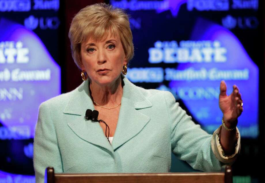Connecticut Republican Senate candidate and former wrestling executive Linda McMahon gestures during her debate against her opponent, former Rep. Christopher Shays, June 14, 2012, in Storrs, Conn. (AP Photo/Stephan Savoia, File) Photo: Stephan Savoia, Associated Press / AP